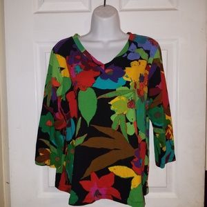 Erin London Womens V-Neck Water color Blouse
